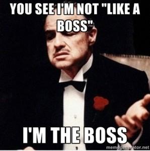 "You see, I'm mot ""like a boss"", I am he boss"
