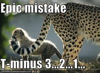 Epic mistake. T-minus 3...2...1...