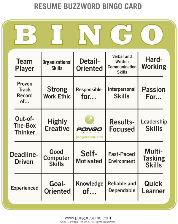 Resume buzzword bingo card