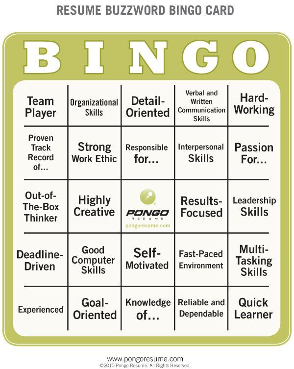 Resume buzzword bingo card